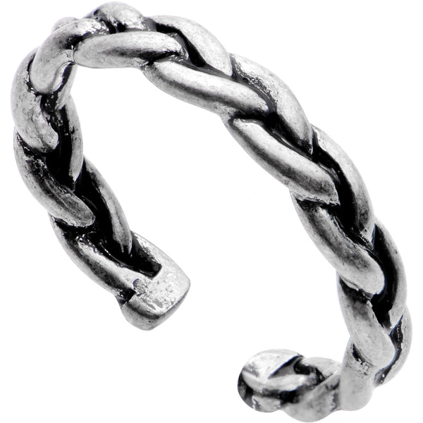 Silver Plated Braided Rope Toe Ring