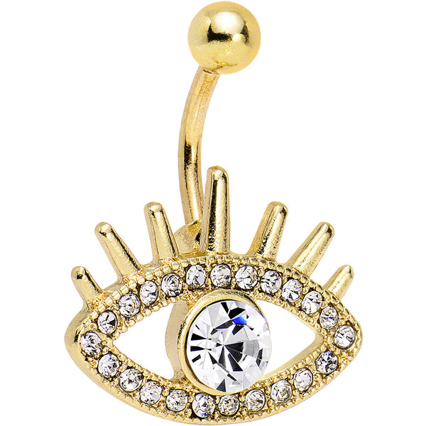 Clear Gem Gold Anodized Steel Fancy Lashes Eye Belly Ring