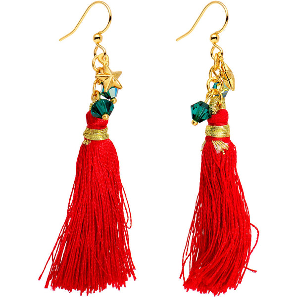 Red Holiday Tassel Fishhook Earrings Created with Swarovski Crystals