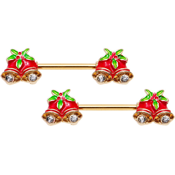 9/16 Clear Gem Gold PVD Red Christmas Bells Barbell Nipple Ring Set