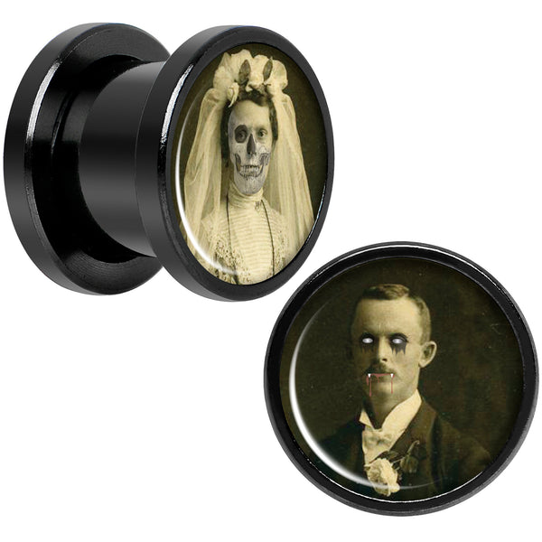 Undead Bride and Groom Halloween Black Anodized Plug Set 00 Gauge