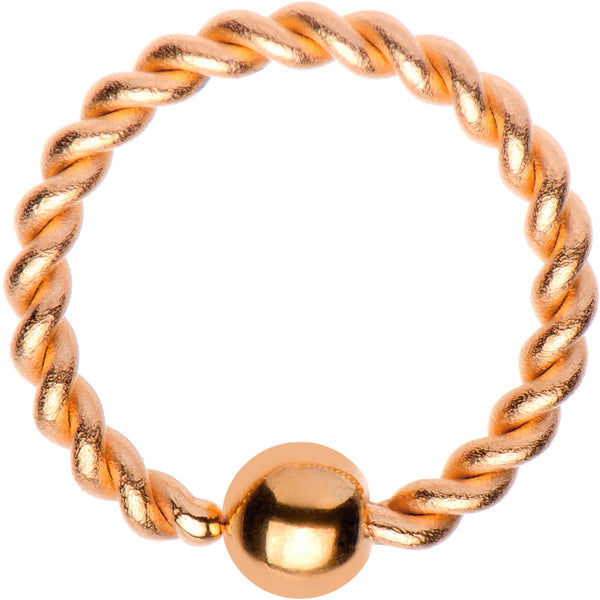 "16 Gauge 5/16"" Rose Gold Tone IP So Twisted Captive Style Seamless Ring"