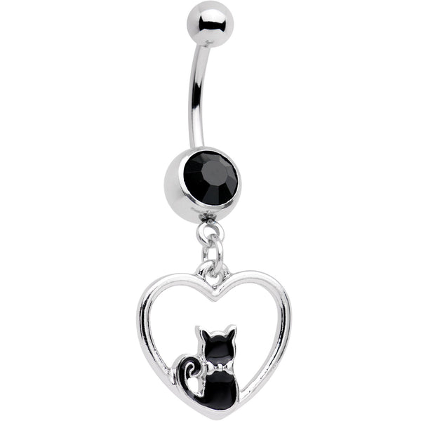 Black Gem Got Your Heart Black Cat Dangle Belly Ring