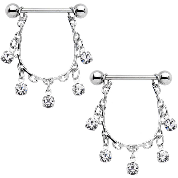 "14 Gauge 5/8"" Clear Gem Chain Drop Dangle Nipple Ring Set"