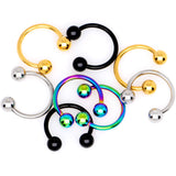 16 Gauge 3/8 Rainbow Black Gold Tone PVD Pack Set of 8 Horseshoe Barbells