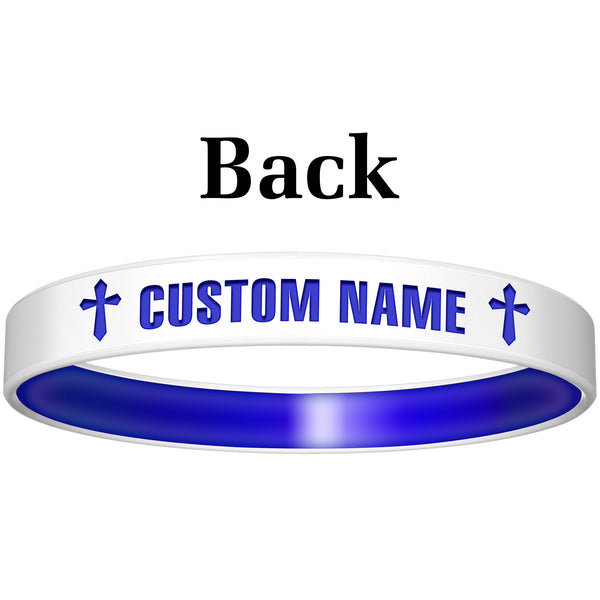 Personalized White Blue God Silicone Religious Message Bracelet