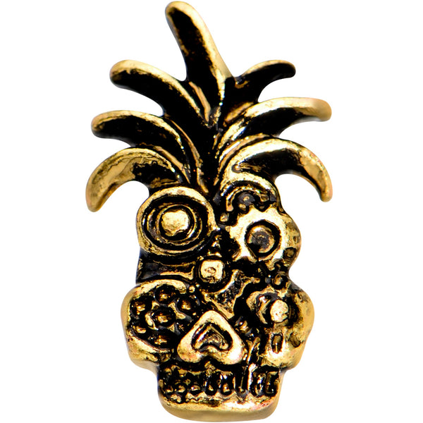 1/4 Gold PVD Steampunk Tiki Skull Headdress Cartilage Tragus Earring