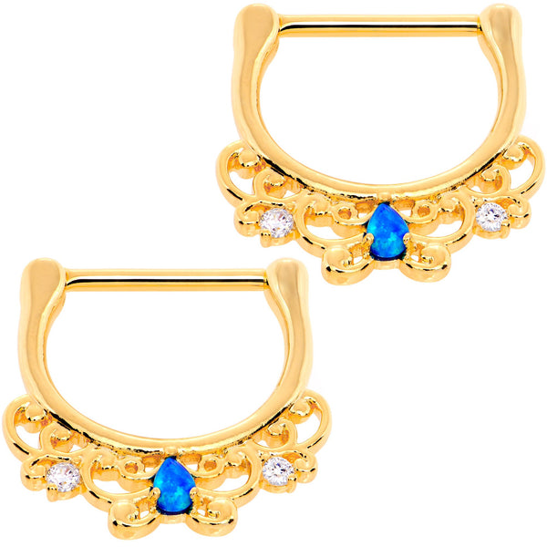 9/16 Blue Synthetic Opal Gold Tone Anodized Drop Nipple Clicker Set