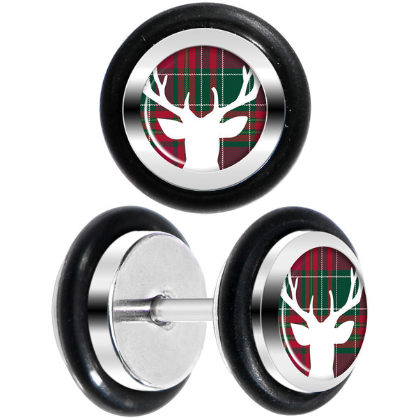Red Green Plaid Reindeer Cheater Plug Set