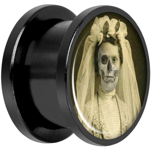 Undead Bride and Groom Halloween Black Anodized Plug Set 9/16