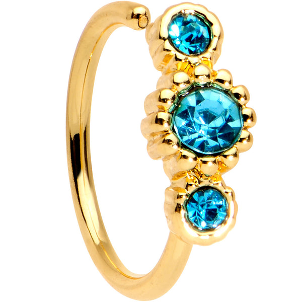 20 Gauge 5/16 Aqua CZ Gold Tone Fashion Fusion Seamless Circular Ring