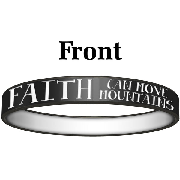 Personalized Black White Faith Silicone Religious Message Bracelet