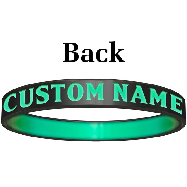 Personalized Black Teal Believe Silicone Religious Message Bracelet