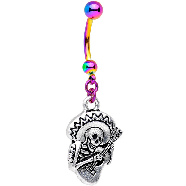 Handcrafted Dia de los Muertos Halloween Rainbow Dangle Belly Ring