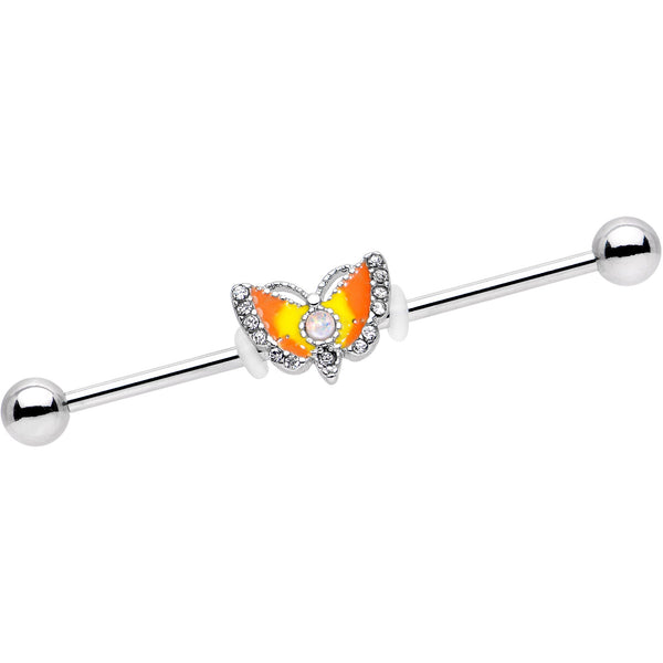 White Faux Opal Orange Moth To a Flame Industrial Barbell 38mm