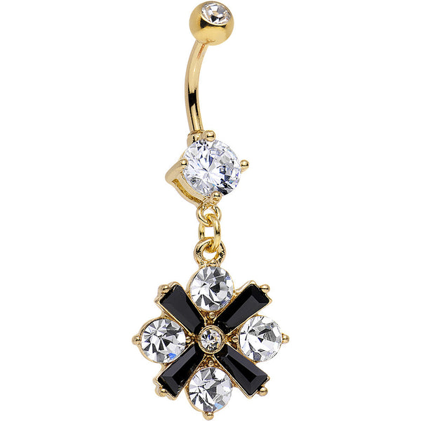 Clear Gem Gold Anodized Black X Marks the Sparkle Dangle Belly Ring