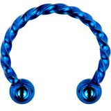 16 Gauge 3/8 Blue Seriously Twisted Horseshoe Circular Barbell