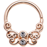 Clear CZ Gem Rose Gold Plated Brass Butterfly Seamless Septum Ring