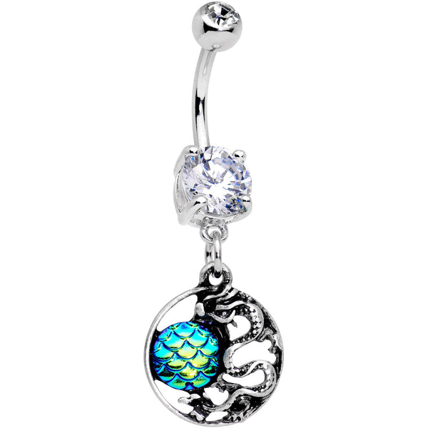 Clear CZ Gem Mermaid Scale Eastern Dragon Dangle Belly Ring