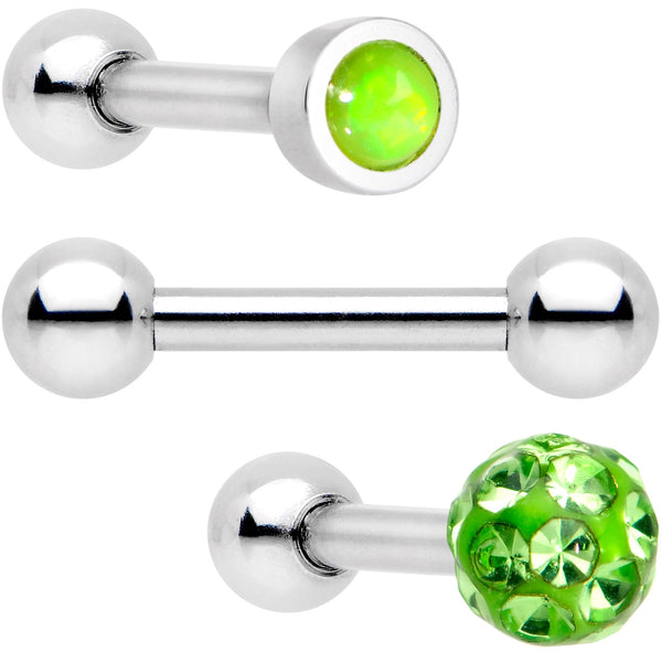 16 Gauge 1/4 Lime Faux Opal Inlay Cartilage Tragus Earring 3 Pack Set