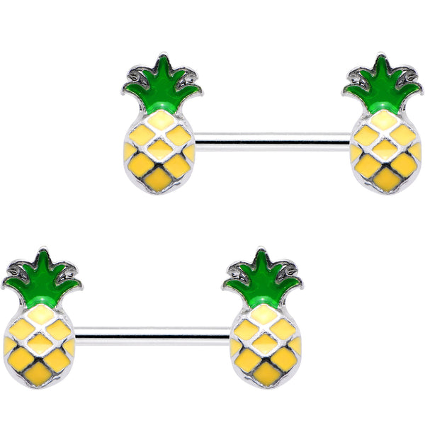 14 Gauge 1/2 Steel Yellow Green Pineapple Barbell Nipple Ring Set