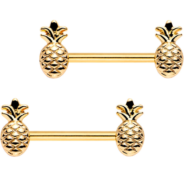 9/16 Gold Plated Plump Pineapple Barbell Nipple Ring Set