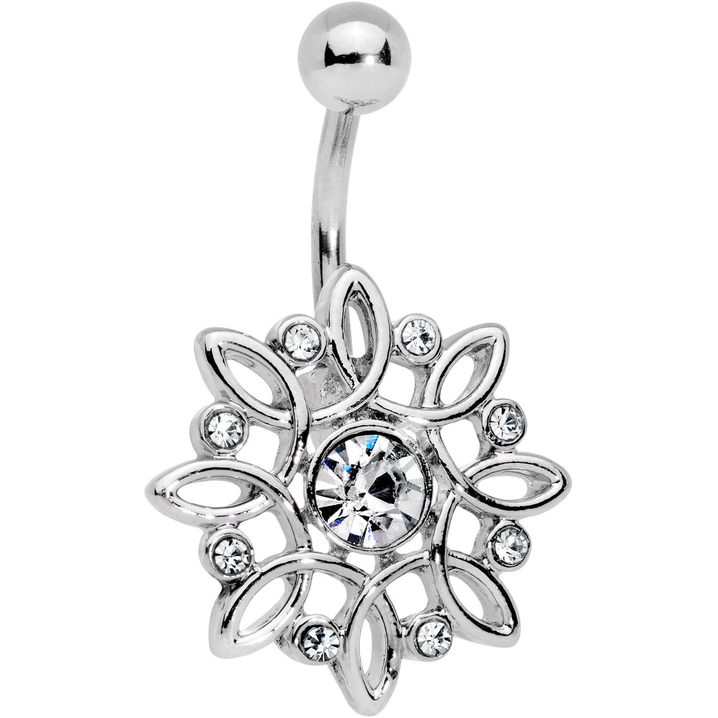Clear Gem Twisted Bliss Flower Belly Ring