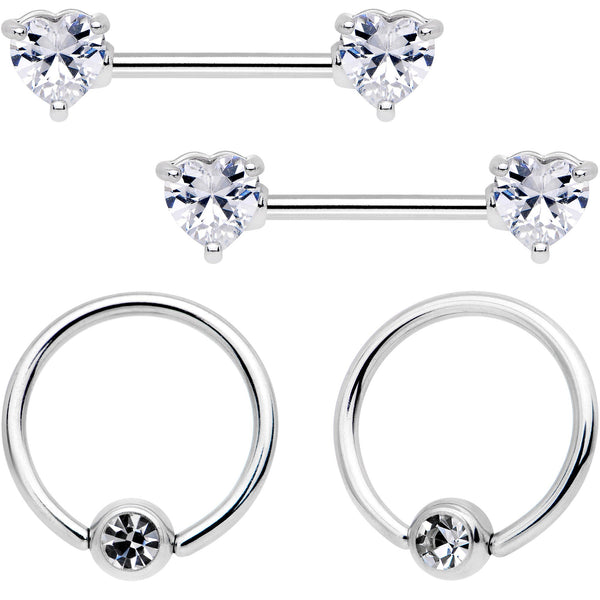 14 Gauge 9/16 Clear Gem Heart Captive Ring Barbell Nipple Ring Set