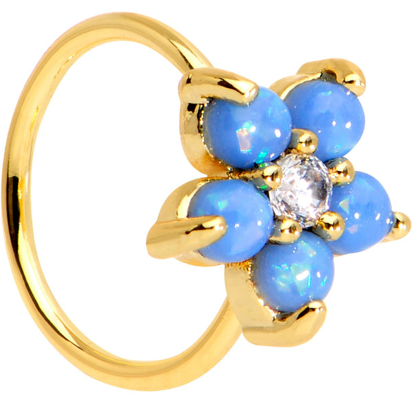 20 Gauge Clear CZ Light Blue Faux Opal Gold Tone Flower Circular Ring