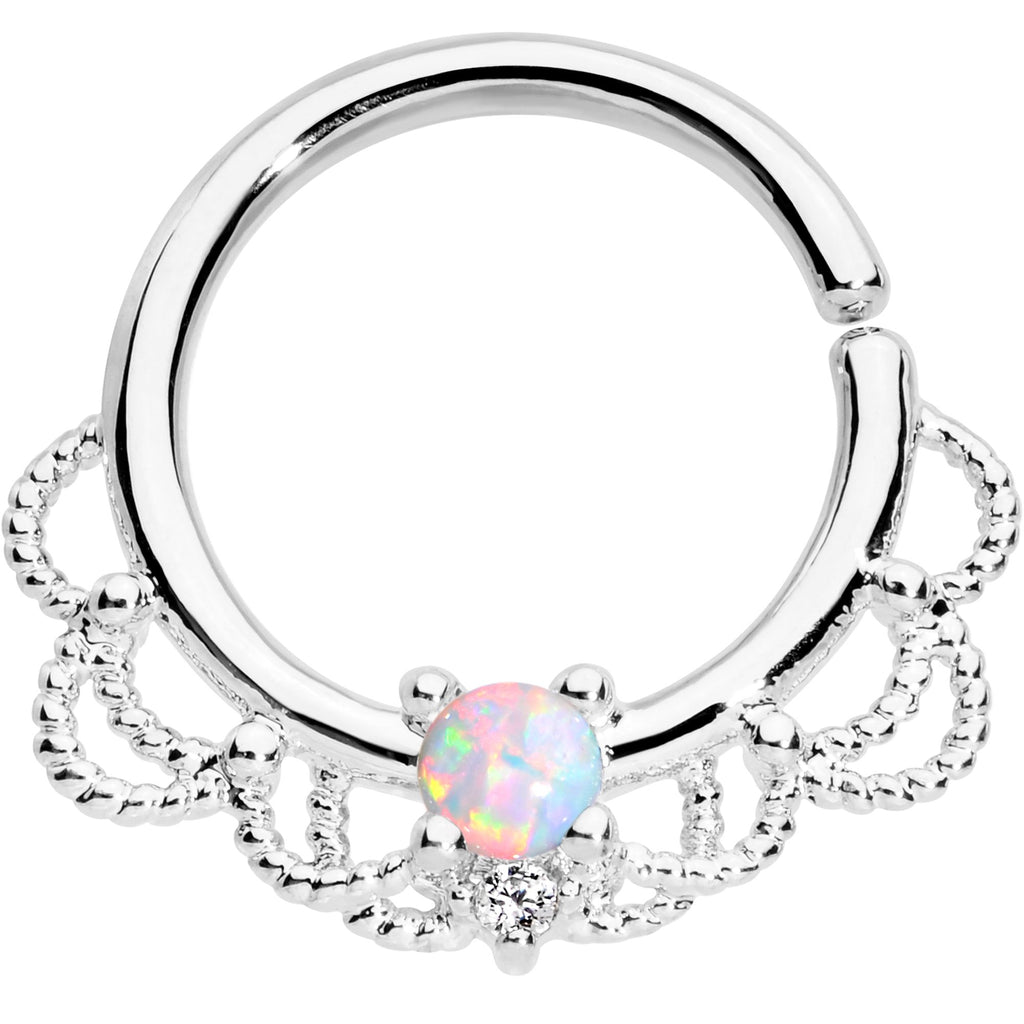 fce504ccd 16 Gauge 5/16 White Faux Opal Platinum Plated Seamless Circular Ring ...