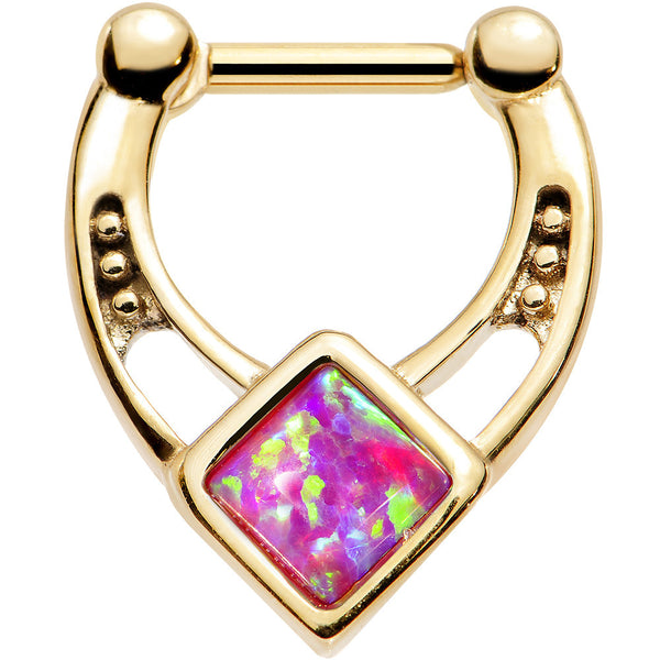 16 Gauge 1/4 Pink Faux Opal Gold Anodized Glamour Septum Clicker