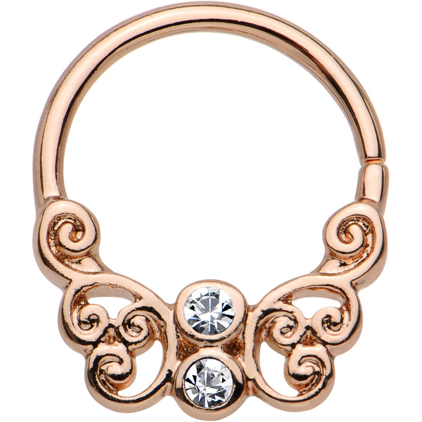 "16 Gauge 3/8"" Clear CZ Rose Gold PVD Spiral Butterfly Septum Ring"