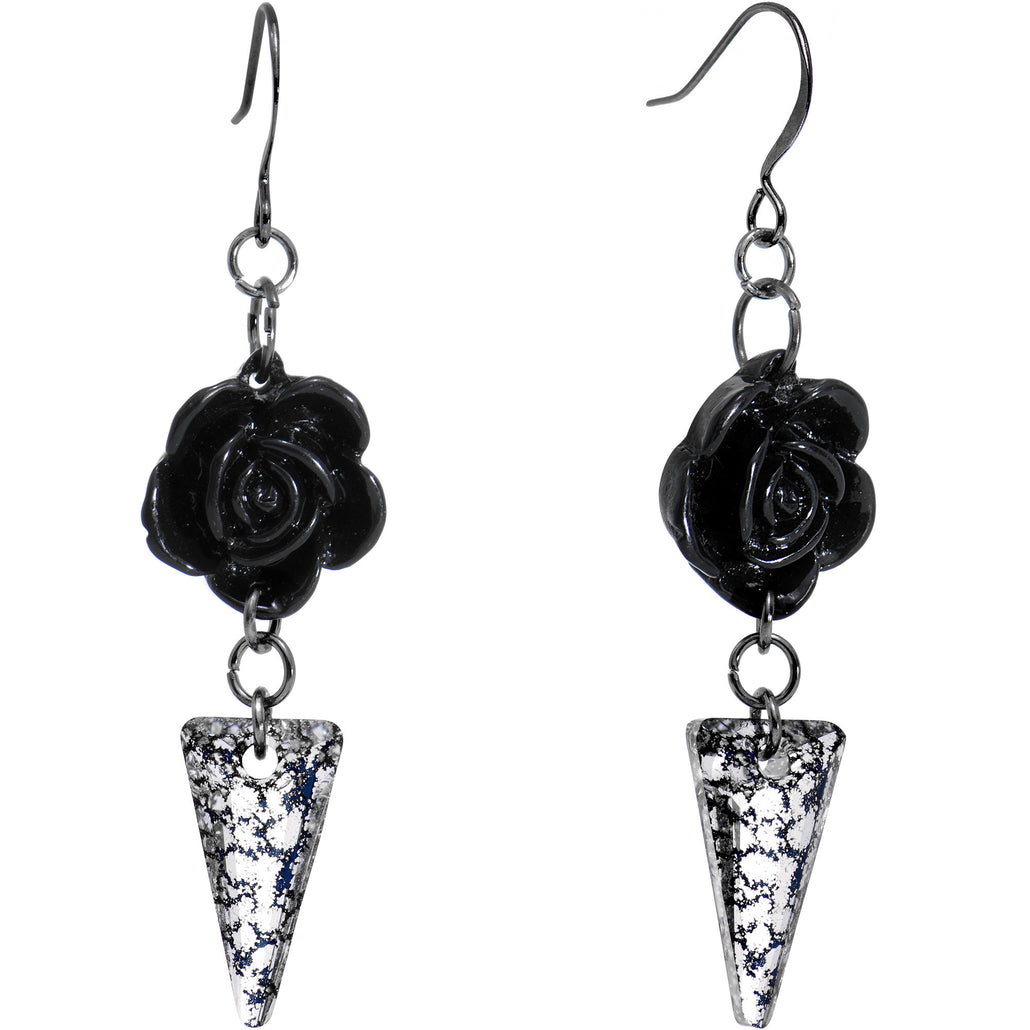 Handcrafted Black Rose Dagger Earrings Created with Swarovski Crystals
