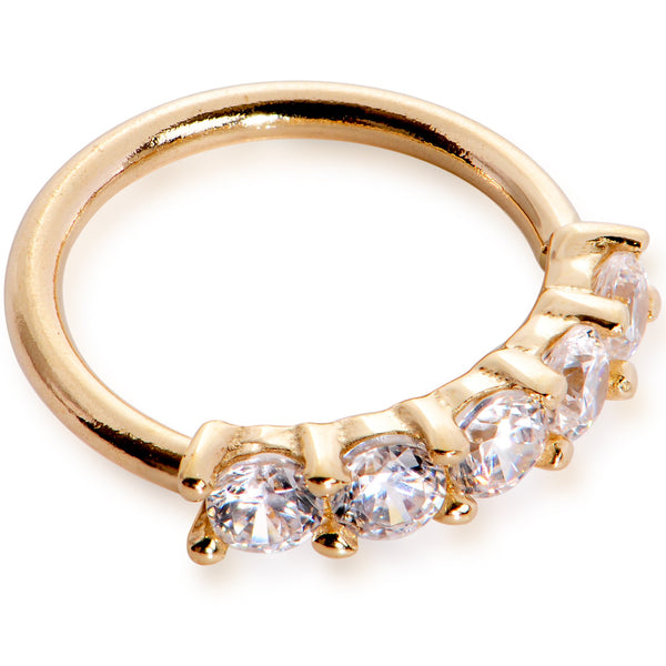 18 Gauge 1/4 Clear CZ Gem 14kt Yellow Gold Seamless Circular Ring