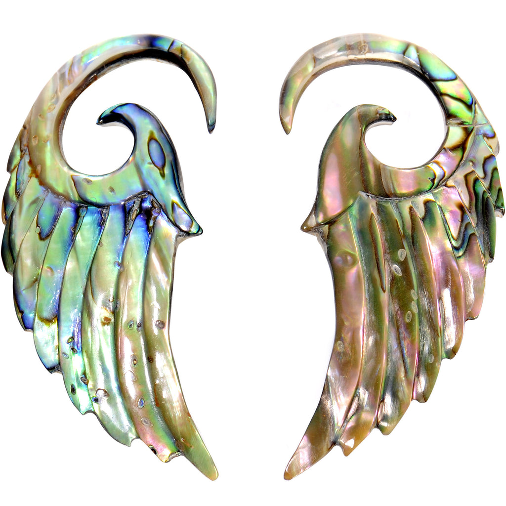 8 Gauge Real Abalone Shell Angel Wings Spiral Taper Set