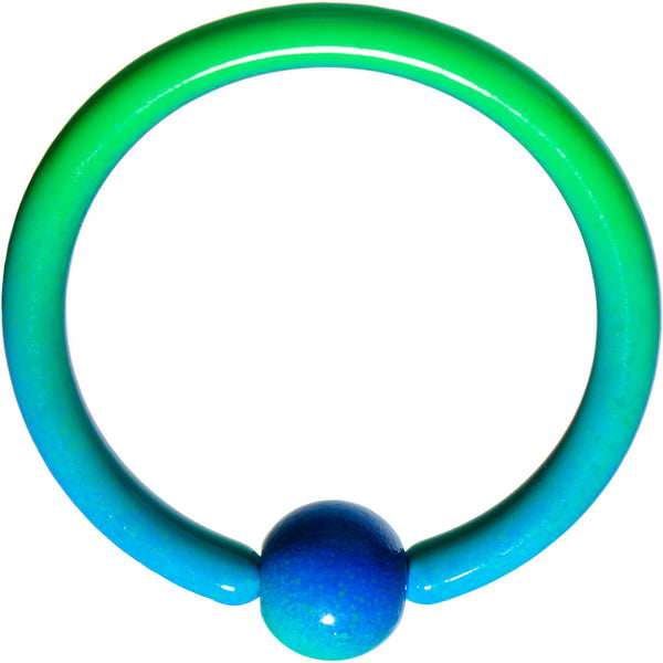 16 Gauge 3/8 Color Plated Blue Green Fade BCR Captive Ring
