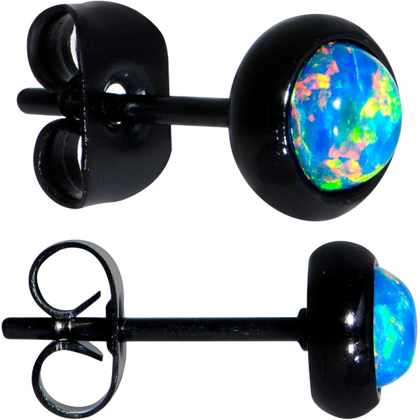 Green Synthetic Opal Black IP 316L Surgical Steel Stud Earrings