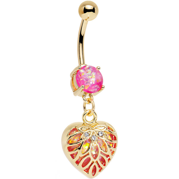 Pink Red Faux Opal Gold Anodized Lotus Flower Locked Heart Dangle Belly Ring