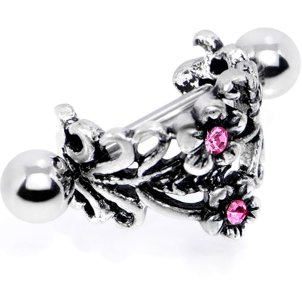 16 Gauge 1/2 Pink Gem Double Daisy Flower Cuff Cartilage Earring