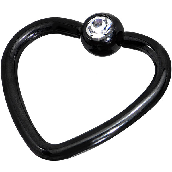 16 Gauge 3/8 Clear Black Anodized Titanium Heart Closure Captive Ring