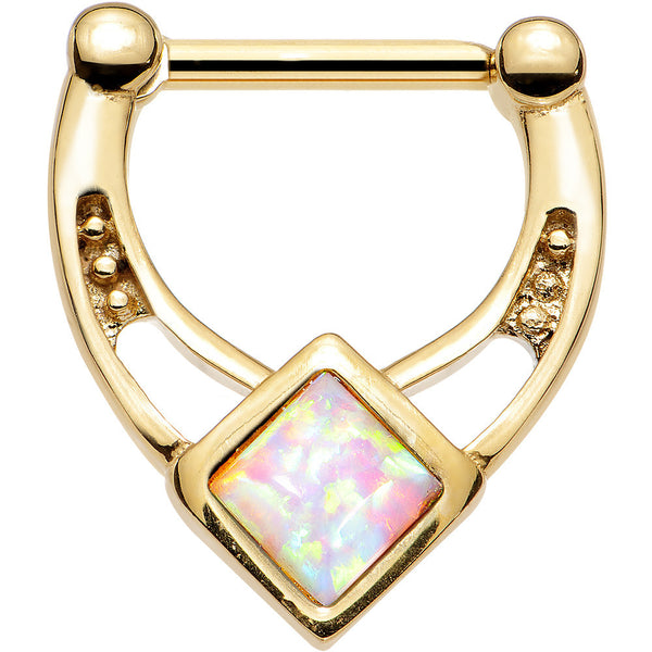 16 Gauge 5/16 White Faux Opal Gold Anodized Glamour Septum Clicker