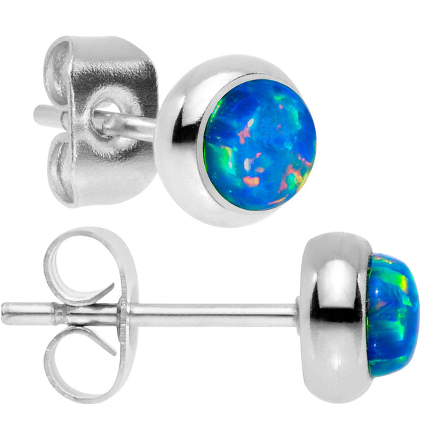 Green Synthetic Opal 316L Surgical Steel Stud Earrings