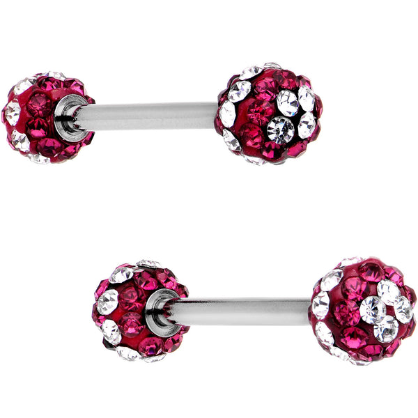 5/8 Clear Red CZ Gem Two Tone Stripe Barbell Nipple Ring Set