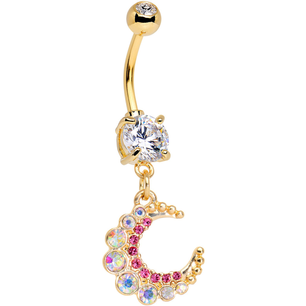Pink Gem Encrusted Gold Tone Anodized Crescent Moon Dangle Belly Ring
