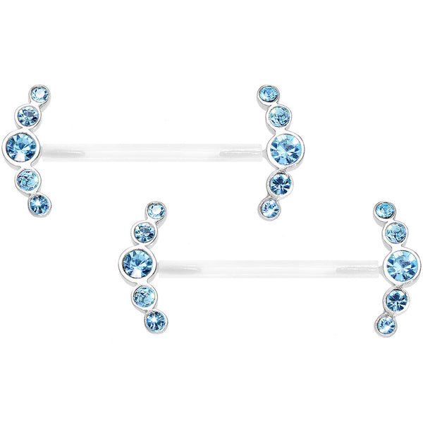 "13/16"" 925 Silver Aqua Blue Gem Bioplast Round Curve Nipple Ring Set"