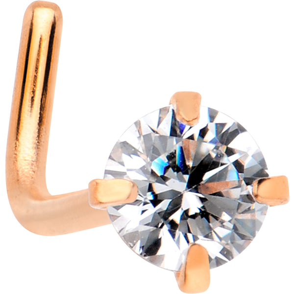 20 Gauge 1/4 Clear 3mm CZ Gem Rose Gold IP L-Shape Nose Ring