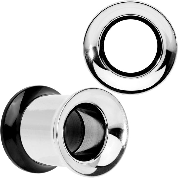 Steel Black Two Tone Screw Fit Tunnel Plug Set 3mm to 16mm