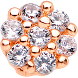 20 Gauge 1/4 Clear CZ Gem Rose Gold Tone Cute Cluster Nose Bone
