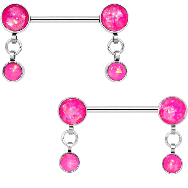Pink Faux Opal Inlay Dangle Barbell Nipple Ring Set
