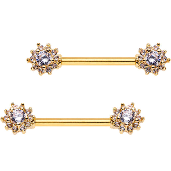 Clear CZ Gem Gold Plated Cluster Flower Barbell Nipple Ring Set